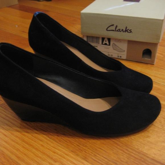0b812efb Clarks Bassett Mine Black Suede Wedge Heels 8 NWT